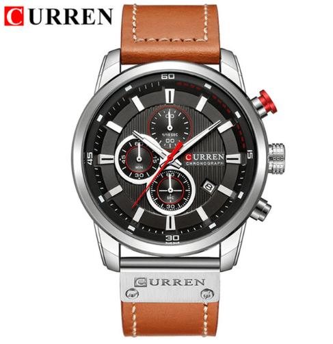Curren Horloge Met Bruine Leren Band
